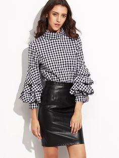 Love the entire outfit.  The collar on the blouse, the sleeves, the gingham, the leather skirt (although it would have to be longer for me).