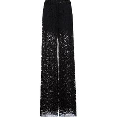 Adam Lippes Lace Relaxed Leg Trousers ($1,550) ❤ liked on Polyvore featuring pants, kirna zabete, kzloves, life of the party, party pants, lace trousers, see through pants, sheer pants and lace pants