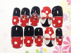 Red Dotto Nails with Ribbons | MiCHi MALL