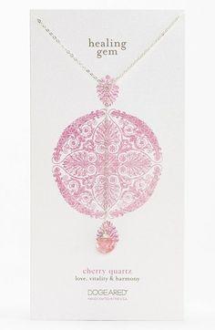 Women's Dogeared 'Healing Gems' Cherry Quartz Y-Necklace - Cherry- Silver Quartz (Nordstrom Exclusive)