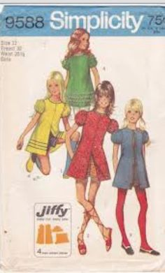 1970's Pattern for hot pants!!! (that is what we called the shorts with short short dresses My sister and I had several of these sewn for us.