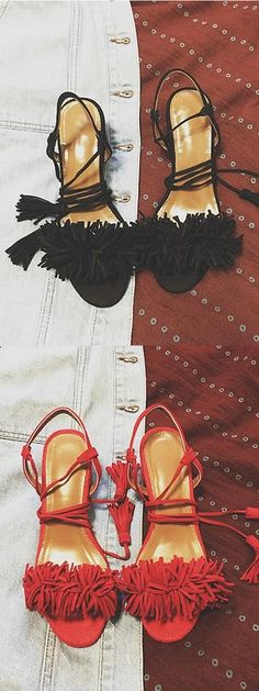 Black/Red Tassel Detail Ankle Lace Up Block Heeled Sandals