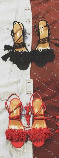 Black/Red Tassel Detail Ankle Lace Up Block Heeled Sandals