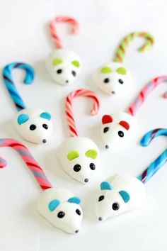 Make adorable meringue mice with candy cane tails.