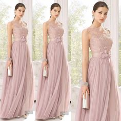 Blush Tulle Lace Flowers Maid Of Honor Floor Length Bridesmaid Dress