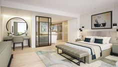 Luxury contemporary master bedroom suite with open plan ensuite bathroom
