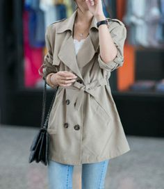 Casual Turn-Down Collar Double-Breasted Epaulet Embellished Trench Coat For WomenCoats | RoseGal.com