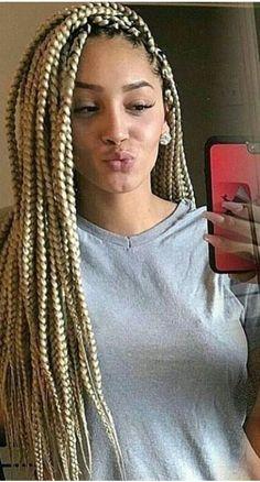 Pinterest: @queenlikekat Dope Hairstyles, Box Braids Hairstyles, Pretty Hairstyles, Black Hairstyles, Protective Hairstyles, Box Braid Hair, Blonde Box Braids, Lemonade Braids Hairstyles, Curly Hair Styles