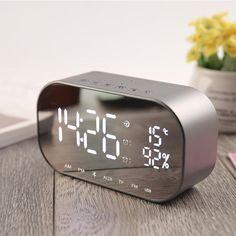 1aafea16689 Mirrored Alarm Clock Modern Digital LED - FM Radio - Bluetooth