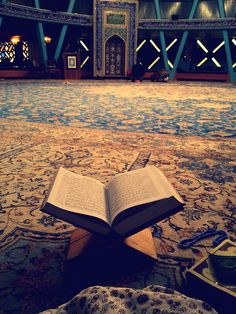 Islamic Art and Quotes — Open Quran at Mosque Prayer Hall Originally found...