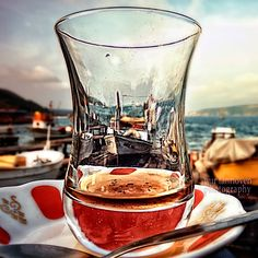 turkish tea glass in Istanbul by Nur Tanriöven #Turkey    #tea #photography