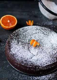Nigella's Flourless Chocolate Orange Cake- tasted good, but had a very moist, almost gummy texture. Good if you need a flourless cake, but otherwise, there are better recipes out there Orange Recipes, Sweet Recipes, Cake Recipes, Dessert Recipes, 13 Desserts, Gluten Free Desserts, Delicious Desserts, Flourless Cake, Flourless Orange Cake