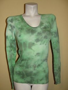 LUCKY BRAND Top Green V-neck Cotton Knit Boho Tie-dye Long Sleeve Shirt Size XS #LuckyBrand #KnitTop #Casual
