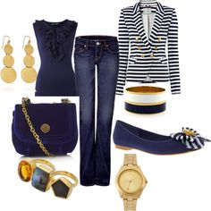 Navy and Gold, created by jamiekillebrew on Polyvore