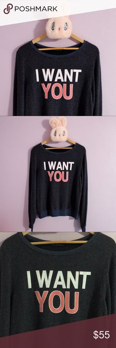 NWOT! WILDFOX I Want You Jumper NWOT! Size small but can fit up to a medium. The jumper is navy colored with white and pink text. Super soft and plushy fleece-like material great for achieving coziness! Please let me know if you have any questions and I am open to offers! Wildfox Sweaters Crew & Scoop Necks