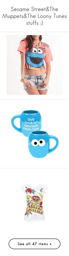 """""""Sesame Street&The Muppets&The Loony Tunes stuffs ;}"""" by theforest ❤ liked on Polyvore featuring tops, t-shirts, shirts, outfits, t shirts, graphic t shirts, graphic design t shirts, sleeve t shirts, shirt top and home"""