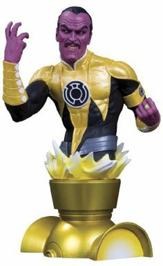 """DC Direct Heroes of the DC Universe: Sinestro Bust by Diamond Comic Distributors. $59.00. Packaged in a 4-color box. Hand-painted, cold-cast in porcelain atop a special lantern base. Measures approximately 5.75"""" H x 3.75"""" W x 3"""" D. Designed by Gary Frank. Sculpted by Jean St. Jean. From the Manufacturer                Designed by Gary Grank.  Sculpted by Jean St. Jean.  Sinestro, agent of fear, is the latest villain to infiltrate the Heroes of the DC Universe bust..."""
