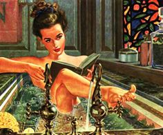 Sophisticated & sexy - bookie in the bathtub // vintage pin up illustration Reading Art, Woman Reading, Girl Reading Book, Reading Room, Art And Illustration, Vintage Illustrations, Pin Up Retro, People Reading, Books To Read For Women