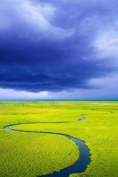 The Okavango Delta, in Botswana, is a large inland delta, formed where the Okavango River reaches a tectonic trough in the central part of the endorheic basin of the Kalahari - South Africa