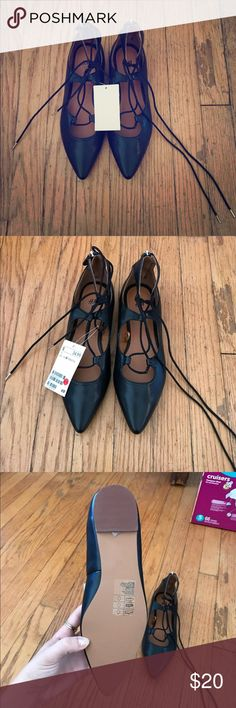 NWT Black H&M Lace up Flats 👠 NWT originally $40, black lace up style. H&M brand! Total steal 😍 H&M Shoes Flats & Loafers