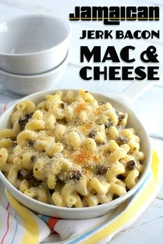 Jamaican Jerk Bacon Mac & Cheese - an easy, deliciously creamy, and slightly spicy version of the classic comfort food.  Perfect as a side dish or as a main meal!