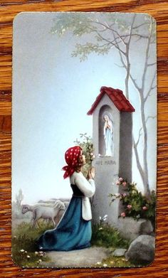 Antique Serie Aurora 15 Holy Card Young Girl Praying Statue OF Mary IN Sanctuary | eBay