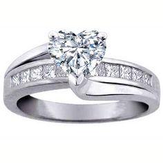 Heart Diamond Bridge Engagement Ring - ES296HSWG
