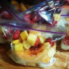 Pre-made smoothie packs. Freeze yogurt in an ice cube tray. Once frozen, add 3 cubes worth of yogurt & 1& 1/2 cups of fruit of your choice. Keep in the freezer until you're ready. Add juice & 1 pre-made bag, blend & enjoy! (fruit shakes freezers)