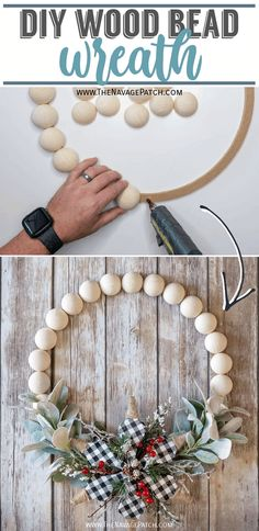 DIY Wood Bead Wreath | The easiest DIY wreath ever | How to make a wood bead wreath in under 15 minutes | DIY wood bead floral wreath | DIY wood bead wreath - seasonally interchangeable | DIY winter floral wreath | Repurposed wood beads | #TheNavagePatch #easydiy #WoodBeadWreath #Upcycled #DIY #DIYWreath #Holidaydecor #DIYChristmas #Christmascrafts #DIYhomedecor #Holidays | TheNavagePatch.com Diy Crafts For Adults, Easy Diy Crafts, Diy Craft Projects, Craft Tutorials, Fun Crafts, Homemade Christmas Gifts, Christmas Crafts, Christmas Decorations, Diy Art