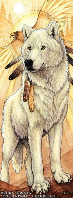 """Dawn Spirit's Flight"" by Christy ""Goldenwolf"" Grandjean.  Watercolor and Colored Pencil on 4.5″ X 12″ Bristol Paper. 2010.  In memory of Shaman the wolf.  Prints and merchandise available: http://www.goldenwolfen.com/site/?wpsc_product_category=visionary"