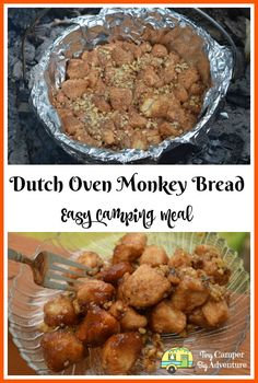 Campfire Monkey Bread Recipe ~ you won't believe you can make this while camping Looking for ideas for easy camping meals for breakfast? This campfire monkey bread recipe is made in a dutch oven. Sweet and sticky, this camping monkey bread recipe is sure Campfire Monkey Bread, Campfire Breakfast, Campfire Food, Dutch Oven Breakfast, Easy Camping Breakfast, Camping Coffee, Camping Desserts, Camping Meals, Camping Recipes