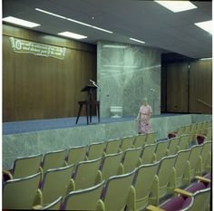 1971 mom in Watchtower Farms D building auditorium (Roger Johnson)