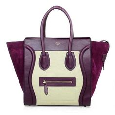 Celine Luggage Mini Boston Bags Original Leather&Suede Purple