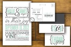 Modern, printable Wedding invitation and RSVP Postcard with reverse design- Custom, gray Design- The Mollie.