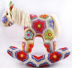 Fatty Lumpkin the Brave African Flower Pony Crochet Pattern by Heidi Bears - Fatty Lumpkin is the sixth of my patterns that makes use of the African Flower hexagon crochet motif and variations thereof, joined in a specific order to make a recognizable 3D item. The purchase of this pattern also provides for a second downloadable PDF, which shows you how to turn Fatty into a rocking-horse, a unicorn and a Pegasus.
