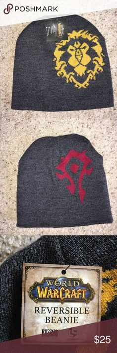 NWT Reversible World of Warcraft Beanie Show your affiliation with the Alliance or Hoard with this reversible beanie. 100% acrylic will keep you warm as you battle your enemies during the game, or battle the elements making a run for more Mountain Dew and Doritos before your next raid. World of Warcraft Accessories Hats