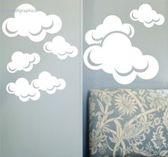 Clouds wall decal Set of 8 matte finish clouds vinyl wall decals. $28.00, via Etsy.