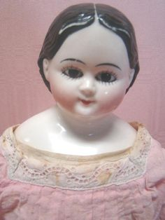 17.5 In. Rare Greiner-style China Shoulder Head Doll w/ Glass Eyes and Upper and Lower Painted Lashes