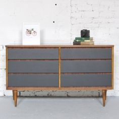Mid Century Modern Six Drawer Dresser Credenza - Painted Black - Wood Body - 50s 60s Retro