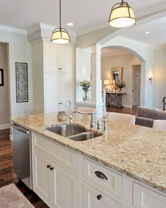 Supreme Kitchen Remodeling Choosing Your New Kitchen Countertops Ideas. Mind Blowing Kitchen Remodeling Choosing Your New Kitchen Countertops Ideas. Cream Kitchen Cabinets, Off White Cabinets, Granite Kitchen, Kitchen Cabinet Design, Kitchen Countertops, Kitchen Sinks, Kitchen Islands, Cream Kitchen Walls, Kitchens With White Cabinets
