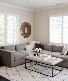 couleur peinture slaon blanc canap gris tapis blanc ambiance tranquille amenagement salon