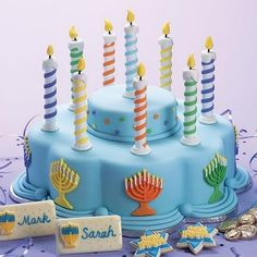 Wilton Cake Decorating & Tools Even if your menorah candles burn too quickly, you'll have the bright lights of our Lights of Han Hanukkah Food, Feliz Hanukkah, Hanukkah Decorations, Christmas Hanukkah, Happy Hanukkah, Hanukkah Lights, Hanukkah Recipes, Hanukkah Menorah, Table Decorations