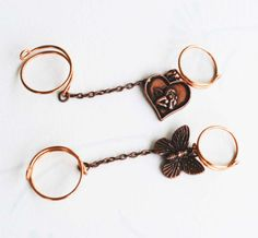 Double Knuckle Midi Slave Chain Ring Copper Wire Wrap Angel Butterfly Adjustable