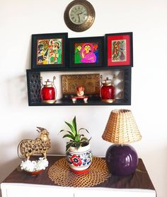 I love my brass nandi and the Jamini Roy painting + two madhubani art compliment the space so well. Ethnic Home Decor, Indian Home Decor, Bohemian Decor, Indian Decoration, Interior Decorating Tips, Diy Interior, Home Interior Design, Interior Designing, Indian Home Interior