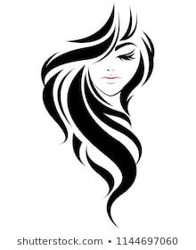 Similar Images, Stock Photos & Vectors of illustration of women long hair style icon, logo women on white background, vector - 723365539 Pencil Art Drawings, Easy Drawings, Drawing Sketches, Art Deco Tattoo, 3d Prints, Silhouette Art, Beauty Art, Face Art, Line Drawing