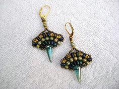 Bead Woven Fan Shaped Earrings in Earthtone by SleepingCatDesigns, $35.00
