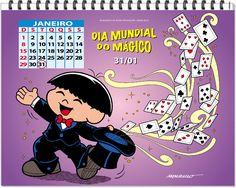 calendário de datas comemorativas com a turma da monica mes de janeio - Pesquisa Google