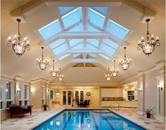 Here's one way to bear chilly Weston, MA winters: an indoor swimming pool, with hot tub, sauna, spa bath.