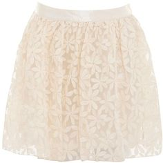 Parisian Cream Flower Lace Skater Skirt ($30) ❤ liked on Polyvore