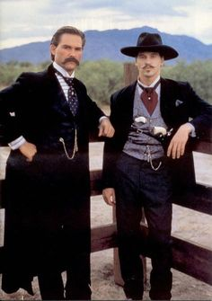 "Kurt Russel and Val Kilmer as Wyatt Earp and Doc Holliday in ""Tombstone."" Favorite Doc Holliday line is ""I'll be your huckleberry."" For me, this was Val Kilmer's best film, and he was the best Doc Holliday ever! Tombstone Movie, Tombstone 1993, Tombstone Quotes, Kurt Russell Tombstone, Wyatt Earp Tombstone, Doc Holliday Tombstone, Tombstone Pictures, Tombstone Arizona, Old West"